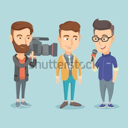 Tv riporter kezelő mikrofon bemutat hírek Stock fotó © RAStudio