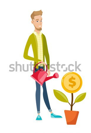 Woman watering money flower vector illustration. Stock photo © RAStudio