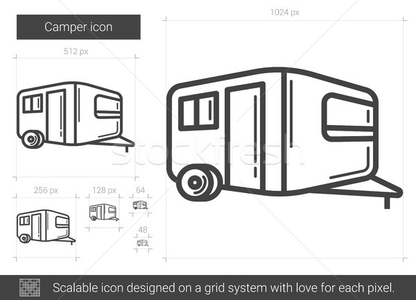 Camper line icon. Stock photo © RAStudio