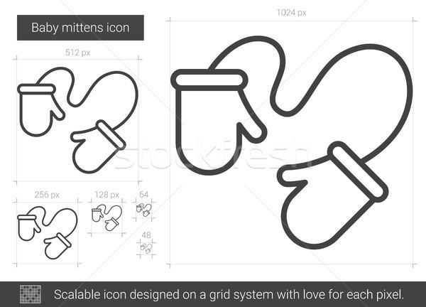 Bebé mitones línea icono vector aislado Foto stock © RAStudio
