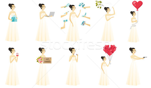 Foto stock: Vetor · conjunto · ilustrações · noiva · asiático