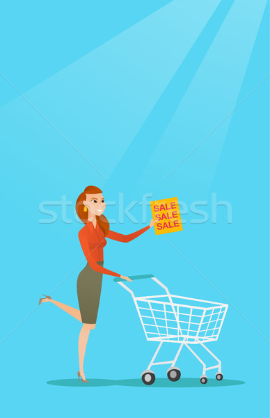 Woman running in a hurry to the store on sale. Stock photo © RAStudio