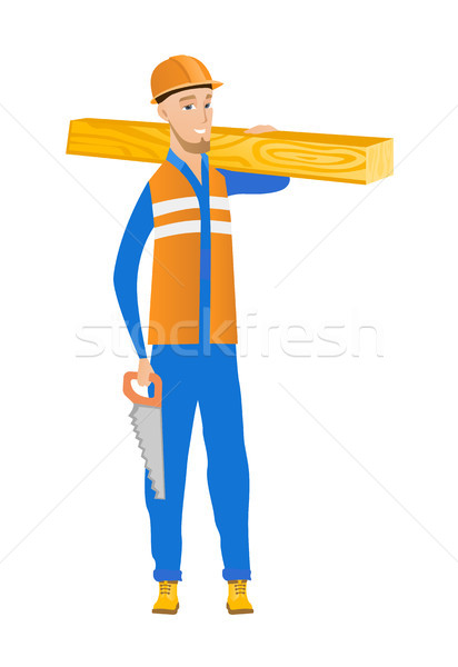 Stock photo: Caucasian carpenter holding saw and wooden board.