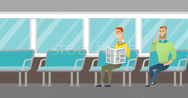 Caucasian people traveling by public transport. Stock photo © RAStudio
