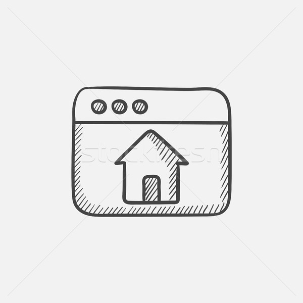 Homepage schets icon browser venster home Stockfoto © RAStudio