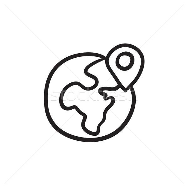 Globe with pointer sketch icon. Stock photo © RAStudio