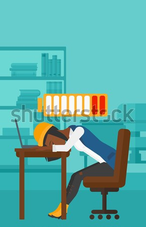 Woman sleeping on workplace. Stock photo © RAStudio