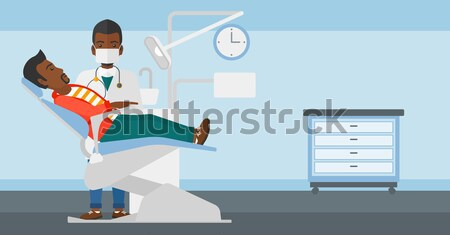 Médico tocar abdomen masculina paciente femenino Foto stock © RAStudio