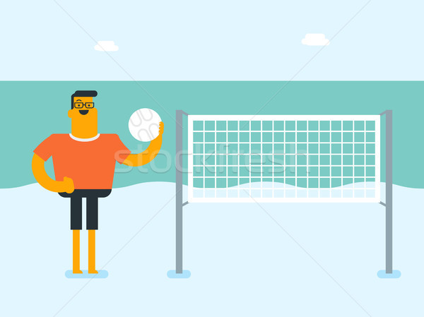 Young caucasian white man playing beach volleyball Stock photo © RAStudio