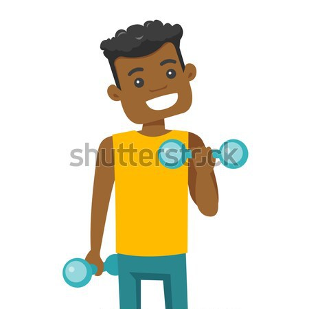 Young caucasian white man lifting dumbbell. Stock photo © RAStudio