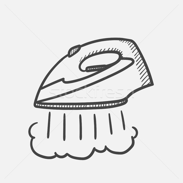 Modern steam iron hand drawn sketch icon. Stock photo © RAStudio