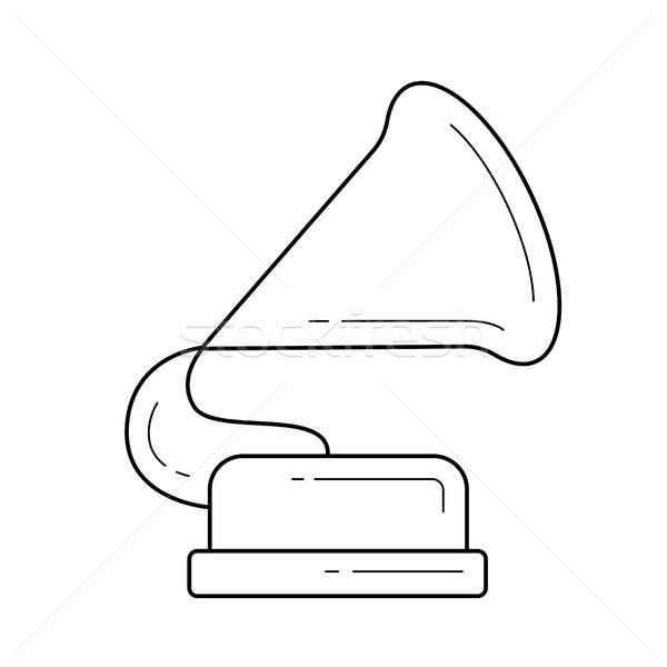 Stock fotó: Gramofon · vonal · ikon · vektor · izolált · fehér