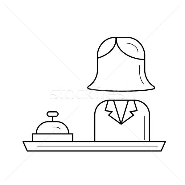 Recepção linha ícone recepcionista hotel sino Foto stock © RAStudio