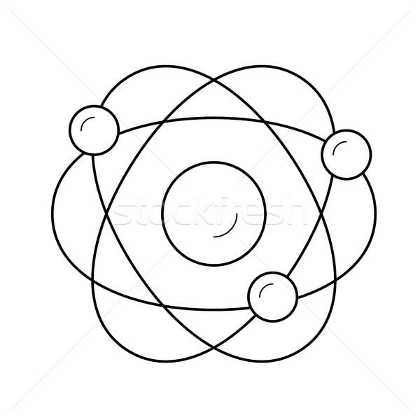 Electronic atom vector line icon. Stock photo © RAStudio