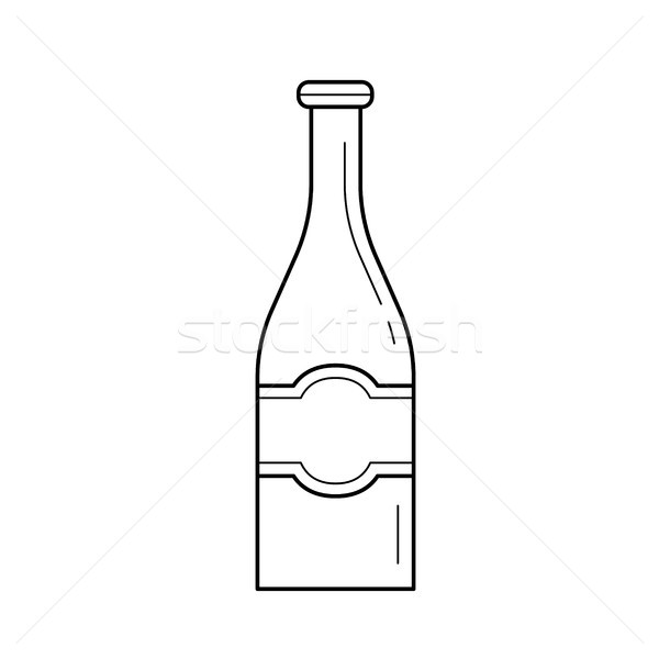 Stock photo: Beer bottle vector line icon.