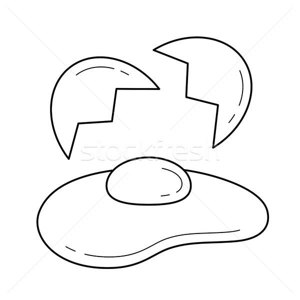 Fried Egg Vector Line Icon Vector Illustration C Rastudio
