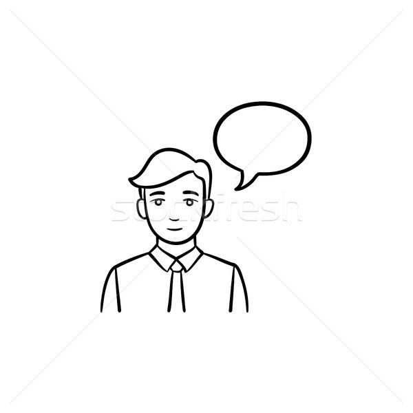 ストックフォト: 会議 · スピーカー · 手描き · スケッチ · アイコン · 吹き出し