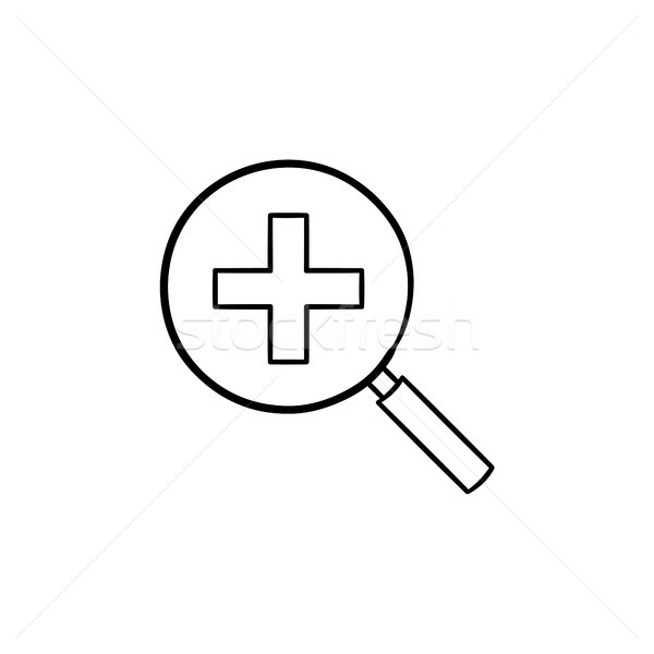 Magnifying glass with positive plus sign inside. Stock photo © RAStudio