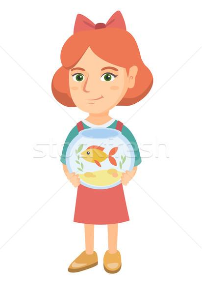 白人 少女 水族館 金魚 ストックフォト © RAStudio