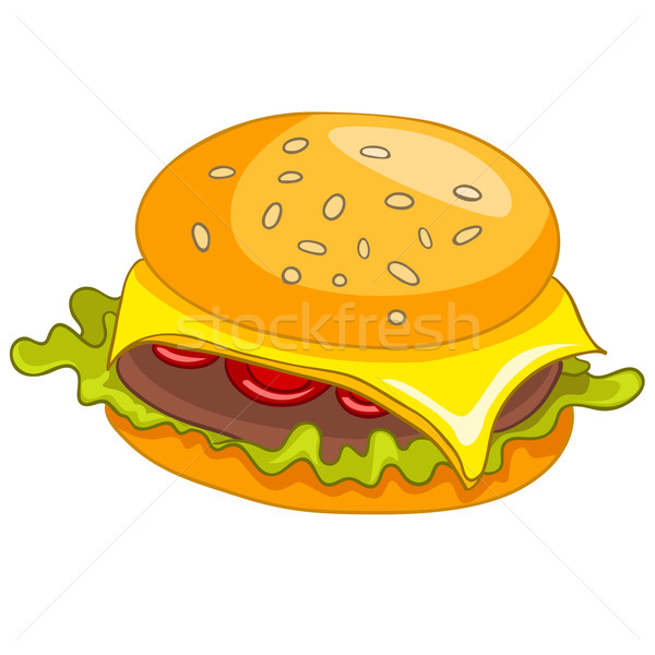 Cartoon alimentos hamburguesa aislado blanco vector Foto stock © RAStudio