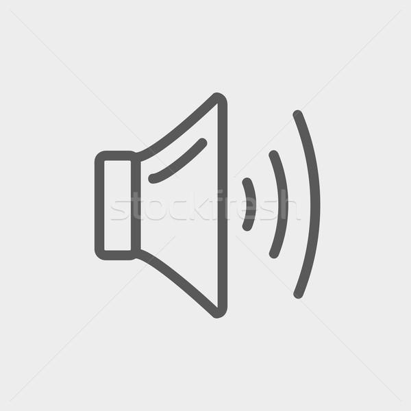 Konuşmacı hacim ince hat ikon web Stok fotoğraf © RAStudio