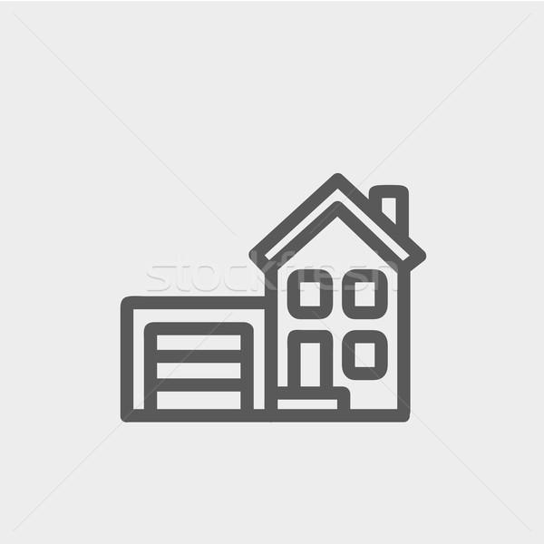 Home garage dun lijn icon web Stockfoto © RAStudio