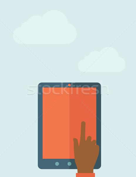 Hand touching blank screen of tablet computer Stock photo © RAStudio