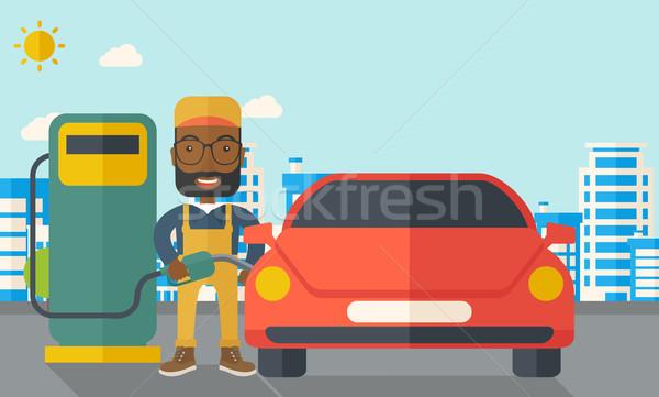 Gasolina nino relleno hasta combustible feliz Foto stock © RAStudio