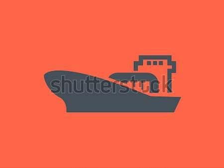 Carga navio porta-contentores fino linha ícone teia Foto stock © RAStudio