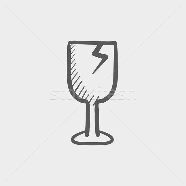 Broken glass wine, fragile sketch icon Stock photo © RAStudio
