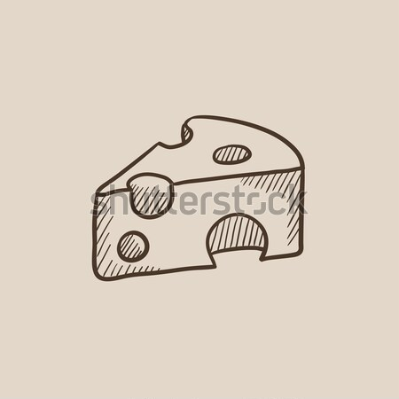 Sliced of cheese sketch icon Stock photo © RAStudio