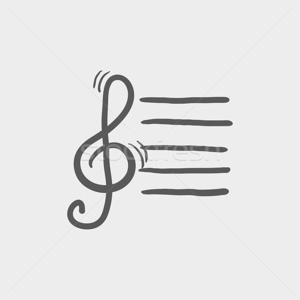 Musical note sketch icon Stock photo © RAStudio