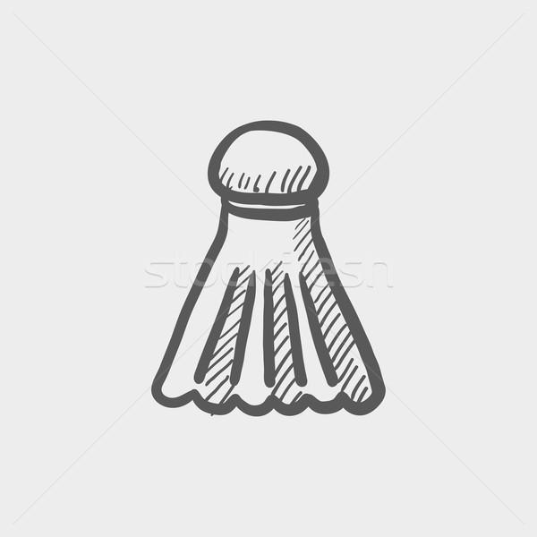 Badminton szkic ikona internetowych komórkowych Zdjęcia stock © RAStudio