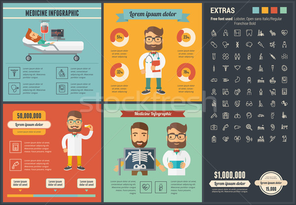 Medicine flat design Infographic Template Stock photo © RAStudio