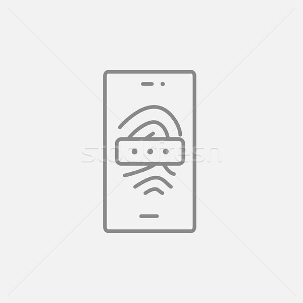 Mobile phone scanning fingerprint line icon. Stock photo © RAStudio