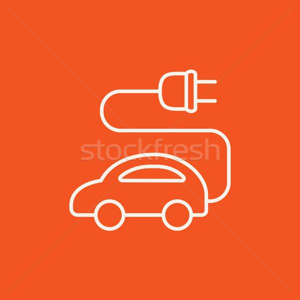 Elektrische auto lijn icon web mobiele infographics Stockfoto © RAStudio