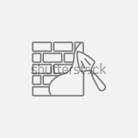 Stock photo: Spatula with brickwall line icon.