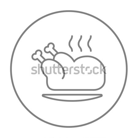Baked whole chicken line icon. Stock photo © RAStudio