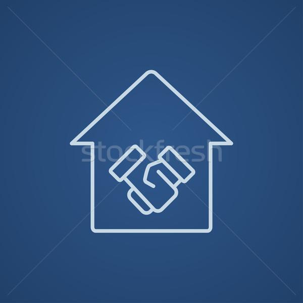 рукопожатие успешный недвижимости сделка линия икона Сток-фото © RAStudio