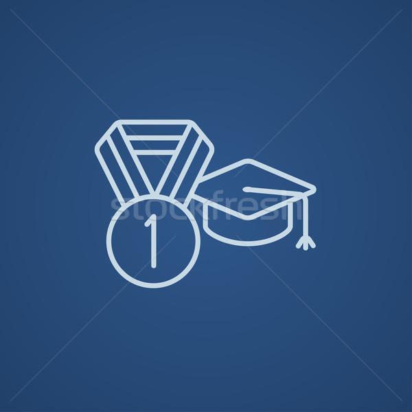 Afstuderen cap medaille lijn icon web Stockfoto © RAStudio