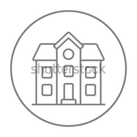 Deux maison individuelle ligne icône web mobiles Photo stock © RAStudio