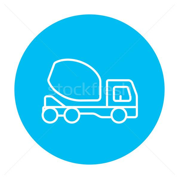 Foto stock: Concretas · mezclador · camión · línea · icono · web
