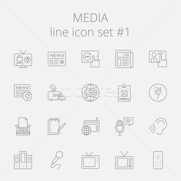 Media vector donkergrijs icon geïsoleerd Stockfoto © RAStudio