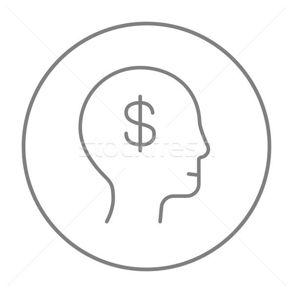 Stock photo: Human head with dollar symbol line icon.