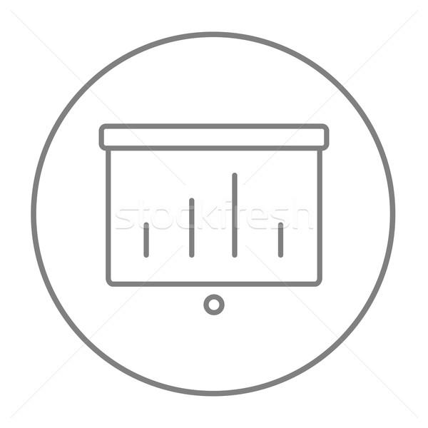 Projektor képernyő vonal ikon háló mobil Stock fotó © RAStudio