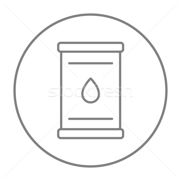 Olie vat lijn icon web mobiele Stockfoto © RAStudio