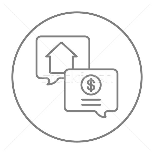 Nieruchomości transakcja line ikona internetowych komórkowych Zdjęcia stock © RAStudio