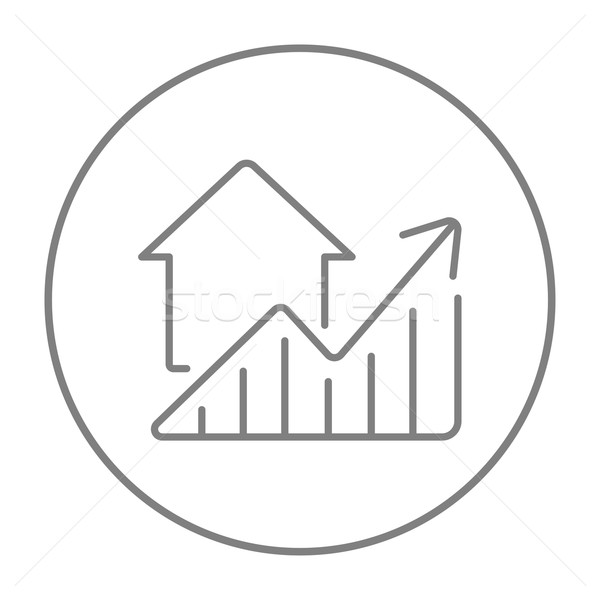 Graph of real estate prices growth line icon. Stock photo © RAStudio