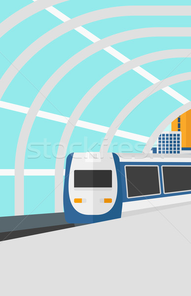 Background of modern train arriving at the station. Stock photo © RAStudio