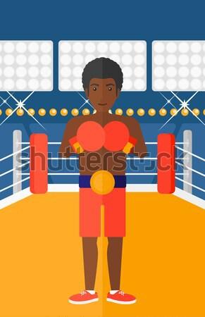 Boxer guanti uomo anello vettore design Foto d'archivio © RAStudio